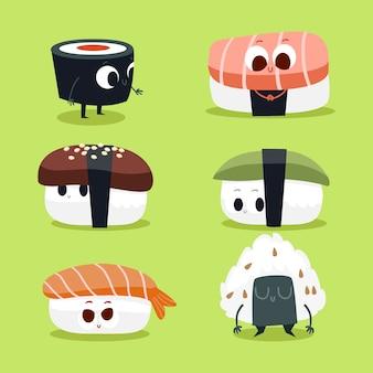 Collezione di personaggi simpatici di sushi