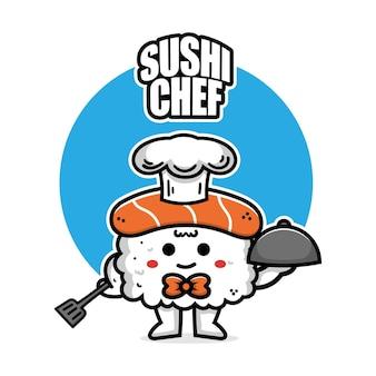 Cute sushi chef hero cartoon icon illustration