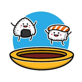 Cute sushi and onigiri with soy sauce cartoon icon illustration