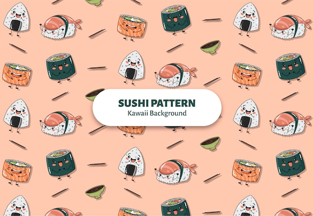 Cute sushi pattern vector