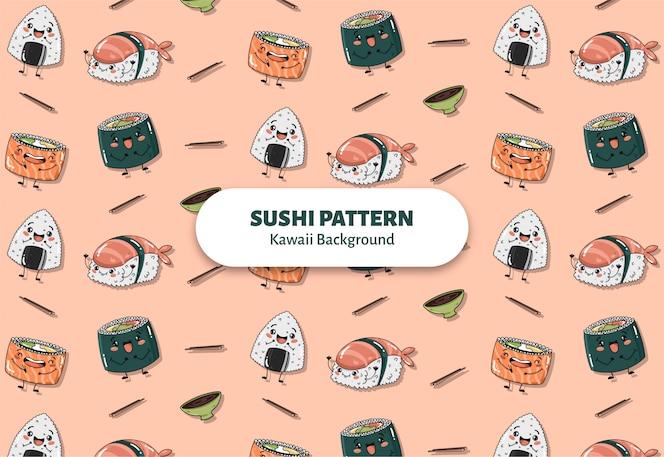 Cute sushi pattern vector