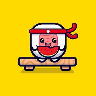 かわいい寿司ロール食べるスイカ漫画アイコンイラスト