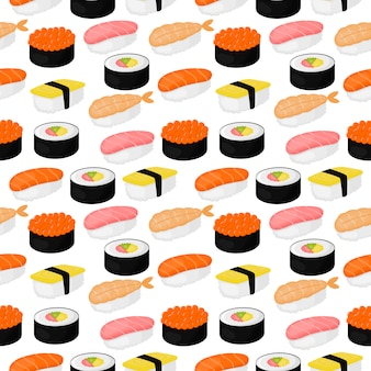 Cute sushi and rolls seamless pattern. japanese food