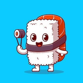 Cute sushi salmon holding chospsticks cartoon icon illustration