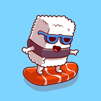 Cute sushi salmon surfing cartoon icon illustration.