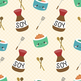 Cute sushi and soy sauce seamless pattern