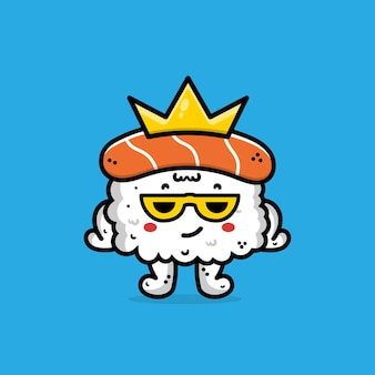Cute sushi with crown cartoon illustration