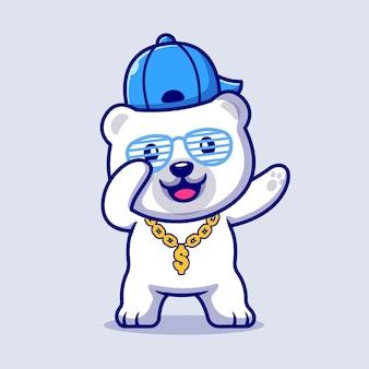 모자와 골드 체인 목걸이 만화 일러스트와 함께 귀여운 장식 북극곰. 플랫 만화 스타일