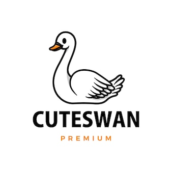 Cute swan cartoon logo  icon illustration