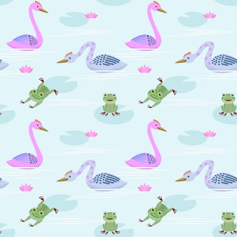 Cute swan and frog in pond pattern.