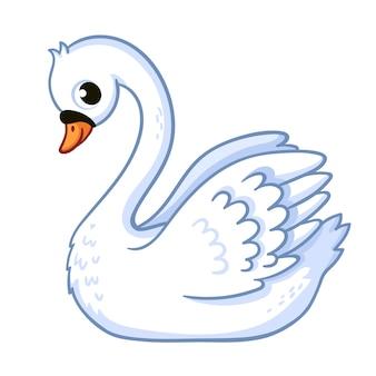 Милый лебедь в мультяшном стиле на белом фоне