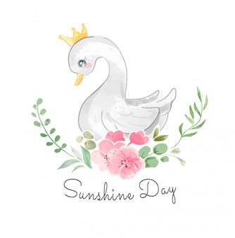 Cute swan in loden crown illustration