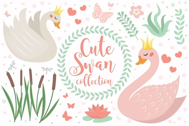 Cute swan princess character set of objects. collection of design element with swans, reeds, water lily, flowers, plants. kids baby clip art funny smiling animal. illustration