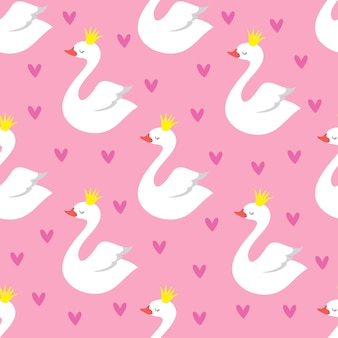 Cute swan princess with crown seamless pattern