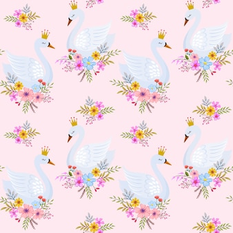 Cute swan princess with flowers seamless pattern.