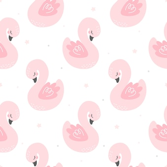 Cute swan seamless pattern background
