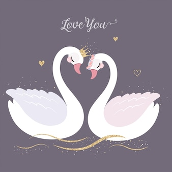 Cute swan with gold glitter crown for wedding invitation.