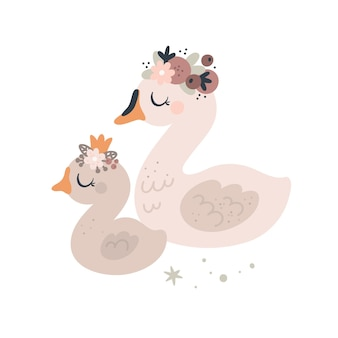 Cute swans birds mom and baby animals with floral wreath