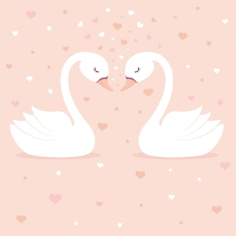 Cute swans on pink background.
