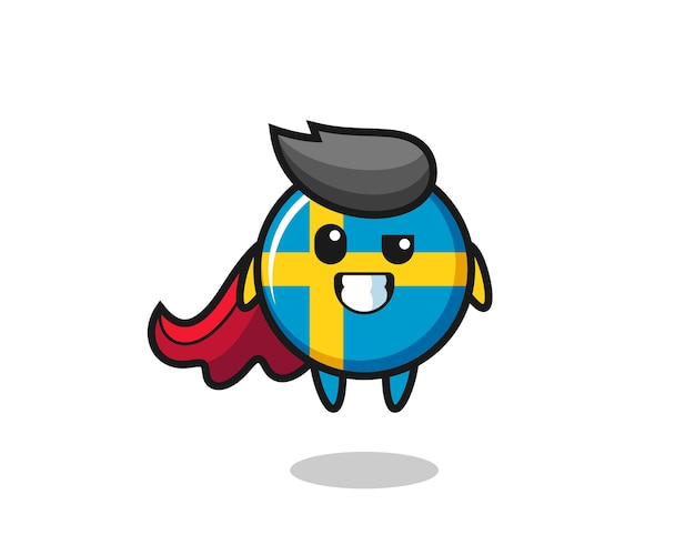 The cute sweden flag badge character as a flying superhero , cute style design for t shirt, sticker, logo element