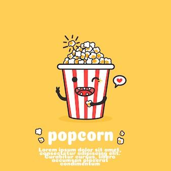 Симпатичный сладкий попкорн, стиль контура.