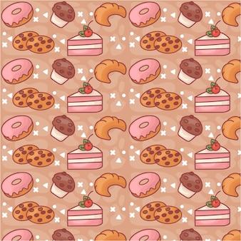 귀여운 달콤한 케이크 원활한 패턴