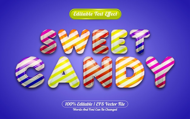 Cute sweet candy baloon 3d liquid editable text effect for happy birthday