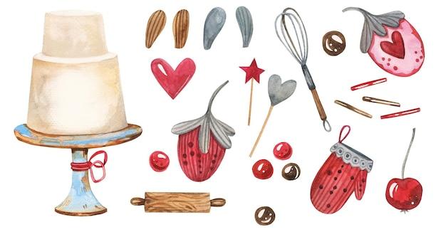 水彩で手描きのかわいい甘いお菓子パッククリップアート。