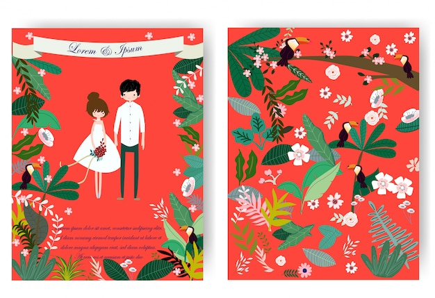 Cute sweet couple and pink floral flower in red wedding card