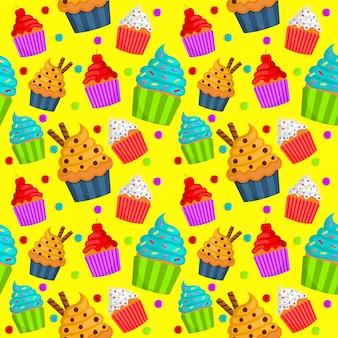 Cute sweet cupcake seamless pattern. summer desserts