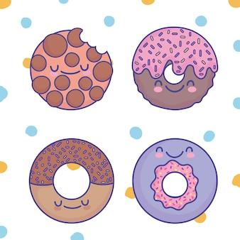 Милое сладкое десертное печенье с пончиками