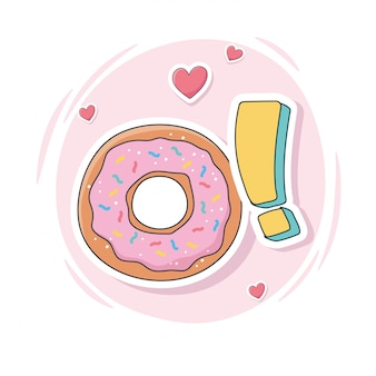 Милый сладкий пончик для карточек, наклеек или заплаток