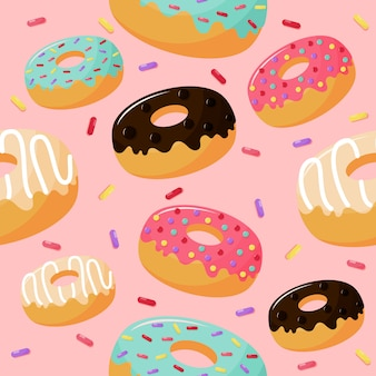 Cute sweet donuts seamless pattern. summer desserts on pink