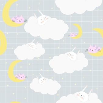 Симпатичный сладкий меч кролика в облаке бесшовные модели