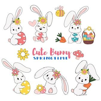 계란 만화 낙서 collcection 세트와 귀여운 달콤한 부활절 토끼 봄 날