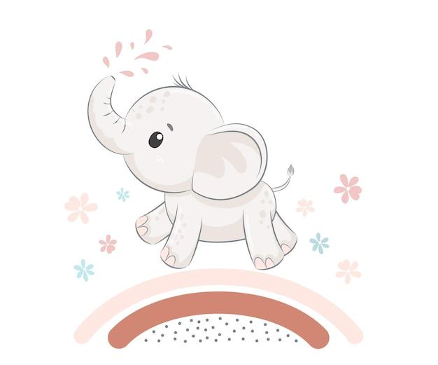 Cute and sweet elephant. vector illustration of a cartoon .