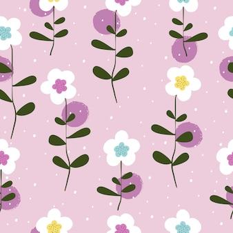 Cute sweet flowers seamless pattern