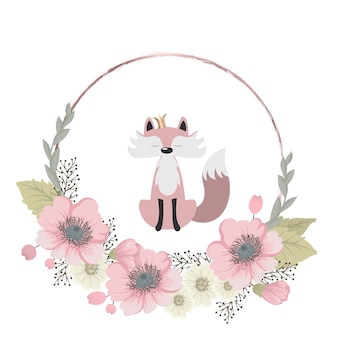Cute and sweet fox collects flowers