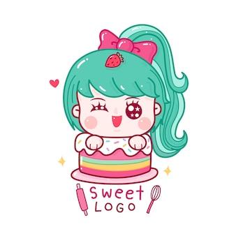 Симпатичная милая девушка в логотипе кондитерской с каваи