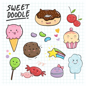 Cute and sweet hand drawn kawaii collection set for kids ornament.