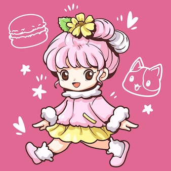 Cute sweet macaroon girl