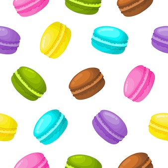 Cute sweet macaroon seamless pattern. summer desserts