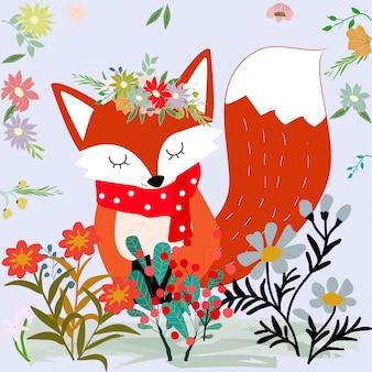 Cute sweet Merry Christmas red fox and wild flower cartoon