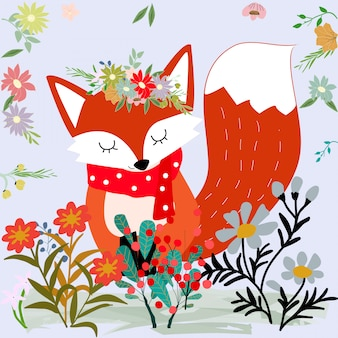 Cute sweet merry christmas red fox and wild flower cartoon