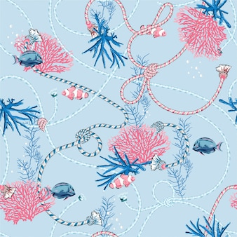 Cute sweet pastel seamless pattern with hand drawn corals golden, and treasure animal, fishes, ropes and pearls on light blue color.