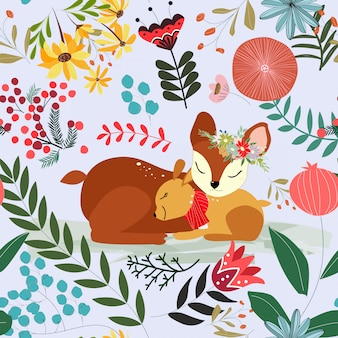 Cute sweet pink and blue floral flower and deer mom and son seamless pattern