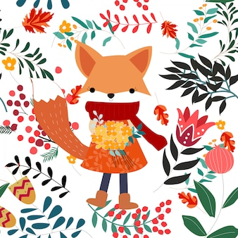 Cute sweet pink floral flower and fox girl seamless pattern