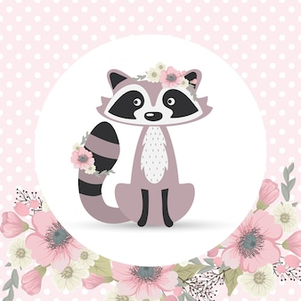 Cute and sweet raccoon collects flowers