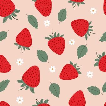 イチゴの葉と花とかわいい甘いシームレスパターン漫画フラットベクトルイラスト