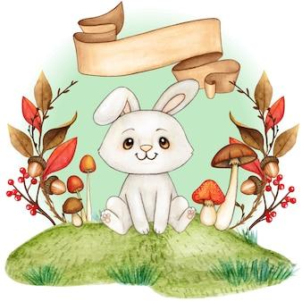 Милый сладкий белый зайчик в осенней рамке со старинным свитком